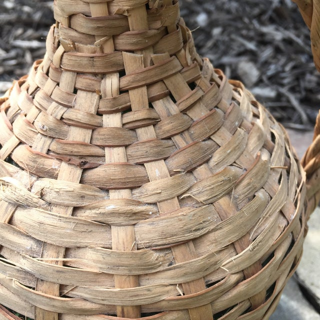 Vintage Rattan Wicker Wrapped Green Glass Jug For Sale - Image 5 of 11