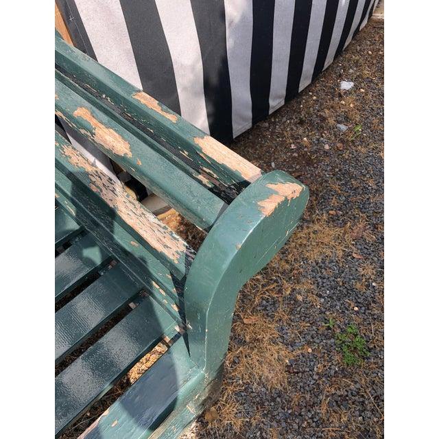 Dark Green English Edwardian Lutyens Style Bench in Teak For Sale - Image 8 of 10