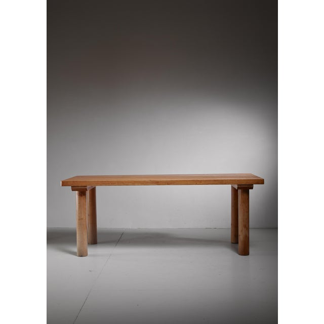 A very rare Charlotte Perriand rectangular four legged pine table from the Arc 1600 ski resort. The table is 190 cm long...