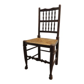 English Country Antique Wood Dining Chair With Rush Seat For Sale
