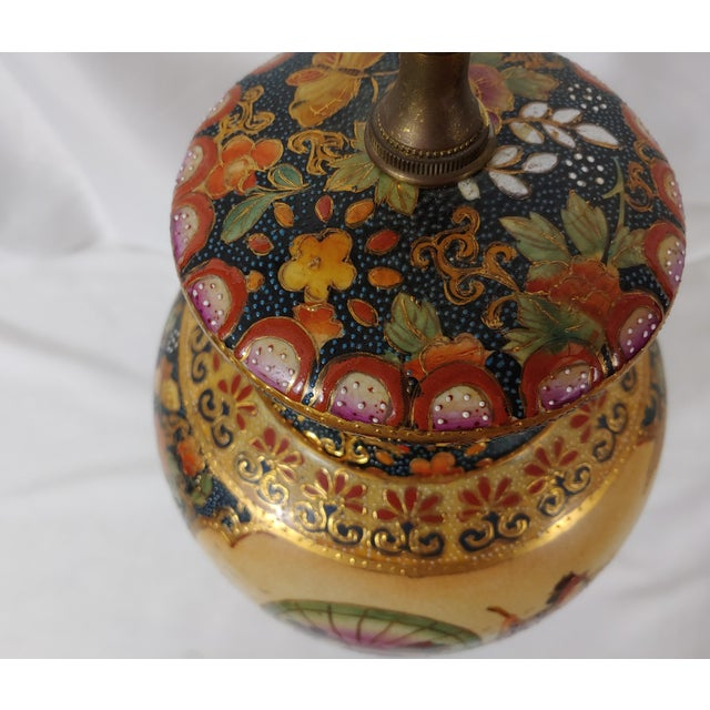Vintage Mid-Century Royal Satsuma Lamp For Sale - Image 4 of 8