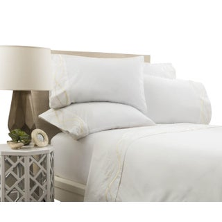 Capri Embroidered Flat Sheet Cal. King - Limestone Preview