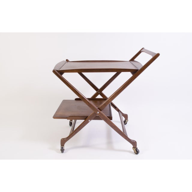 Danish Folding Walnut Bar Cart With Serving Tray - Image 5 of 11