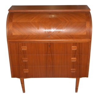 Vintage 1960s Scandinavian Teak Cylinder Desk / Bureau For Sale