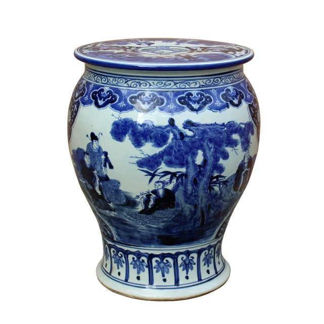 Chinese Blue & White Porcelain Eight Immortal Scenery Round Stool Table For Sale In San Francisco - Image 6 of 6