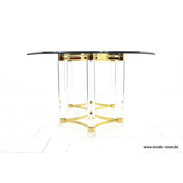 Metal Lucite, Glass and Brass Dining Table, Romeo Paris, 1980s For Sale - Image 7 of 12