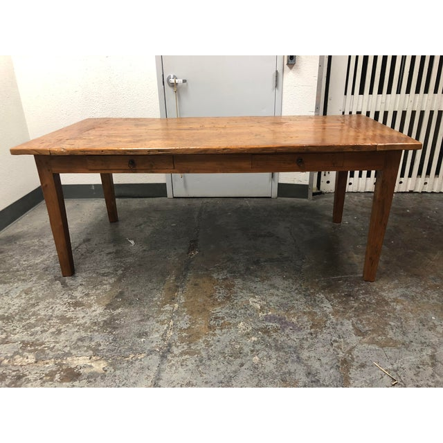 Rustic Reclaimed Two Drawer Farm Table For Sale - Image 10 of 10