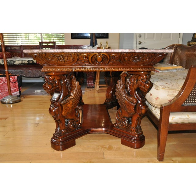 Vintage Renaissance Style Wood Carved Winged Griffin Table and Pink Granite Top For Sale - Image 11 of 13