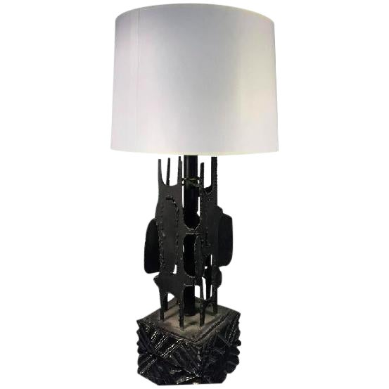 EXCEPTIONAL BRUTALIST TABLE LAMP BY HARRY BALMER, CIRCA 1970 For Sale