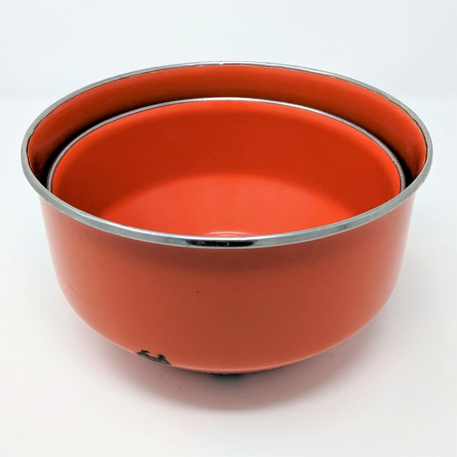 Contemporary Vintage Red Enameled Metal Nesting Bowls -A Pair For Sale - Image 3 of 8