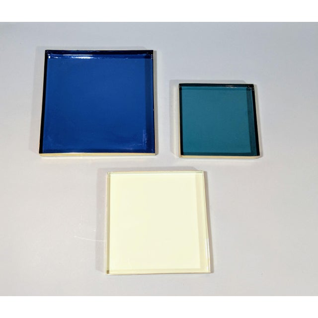 Brass and Enamel Blue, Teal & White Trays - Set of 3 For Sale In Providence - Image 6 of 13