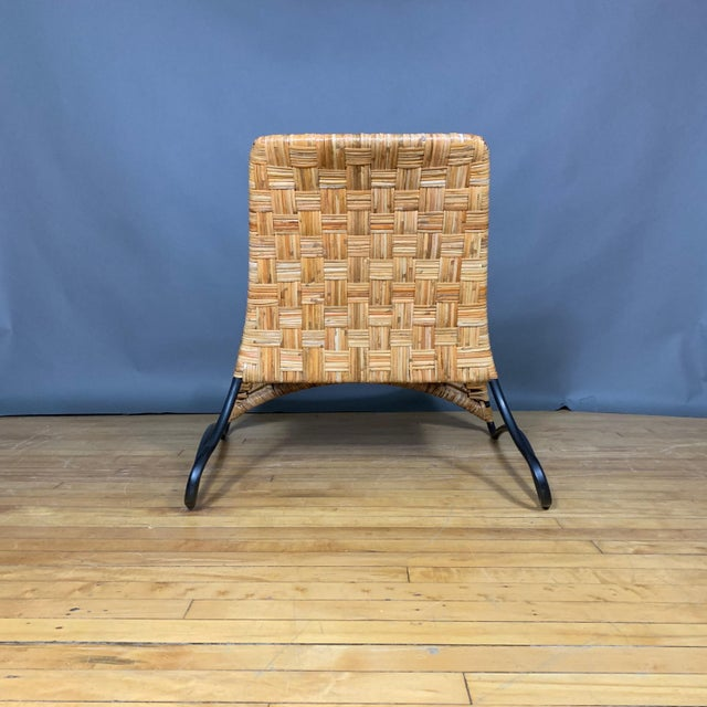 Continental Woven Cane and Blackened Steel Lounge Chair For Sale In New York - Image 6 of 12