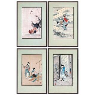 1930s Vintage Japanese (Floating World) Woodblock Prints - Set of 4 For Sale