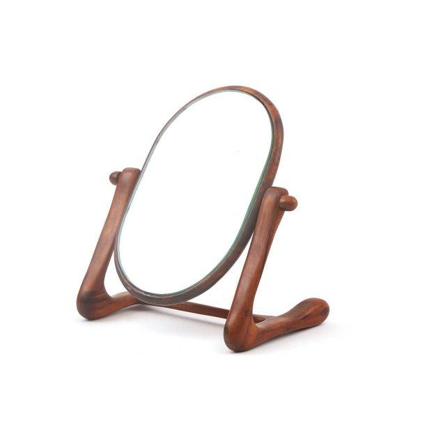 Mid-Century Modern Sculptural Studio Cocobolo Mirror For Sale - Image 3 of 6