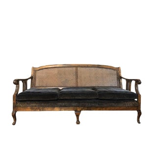 1900s Chippendale Colonial Style Cane Back Carved Wood Blue Fortuny Style Velvet Fabric Settee Antique Sofa or Daybed For Sale
