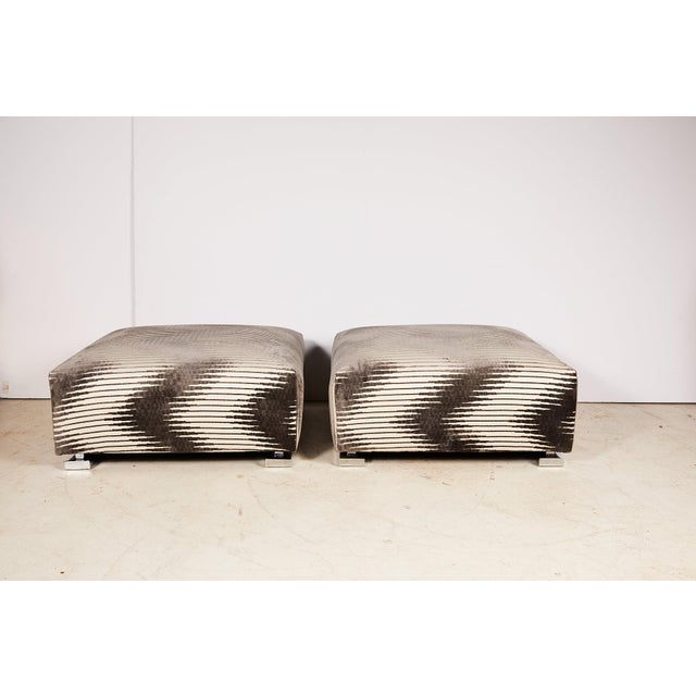 Pair of Midcentury Chrome Footed Ottomans in Jim Thompson Fabric For Sale - Image 4 of 13