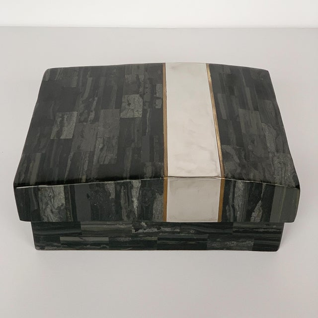 Art Deco Karl Springer Tessellated Stone, Chrome and Brass Box For Sale - Image 3 of 13