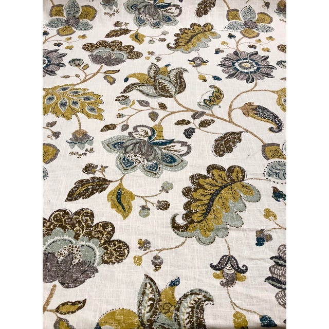 Textile Robert Allen Spring MIX - Transitional Aloe Mustard and Celadon Botanical Printed Multipurpose Fabric - 27.5 Yards For Sale - Image 7 of 7