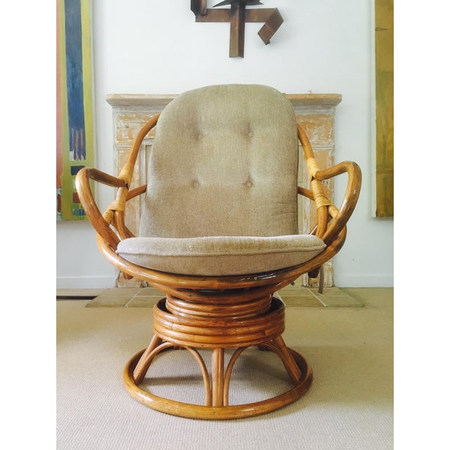Vintage Bamboo Swivel Lounge Chair - Image 7 of 7