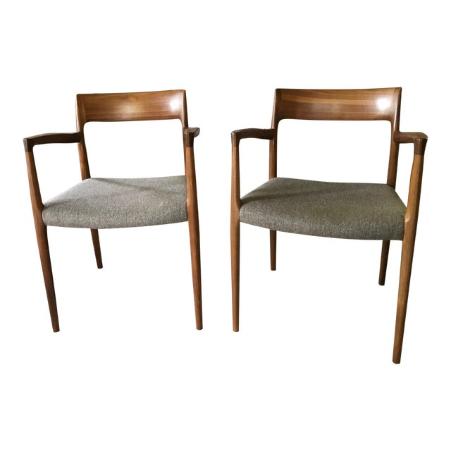 Niels Moller #57 Armchairs - a Pair For Sale