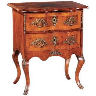 Continental Figured Walnut and Gilt Metal‑Mounted Petite Commode, 19th Century For Sale