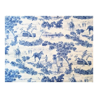 """10 Yds. Rare Ralph Lauren """"And They're Off"""" Equestrian Toile Blue White Fabric"""