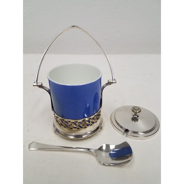English Antique English Silver Plate Jam or Condiment Server With Blue Jar and a Spoon For Sale - Image 3 of 8