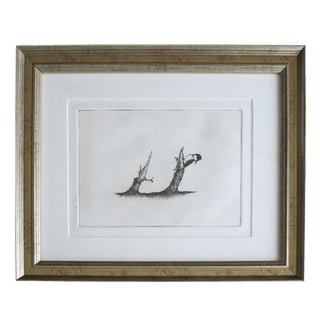 Vintage Mid Century Woodpecker Etching by Riley Bradham For Sale
