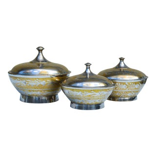 Moroccan Boxes W/ Ornate Engraving, S/3 For Sale