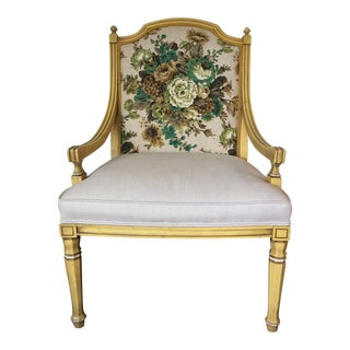 Vintage Victorian Yellow Armchair For Sale