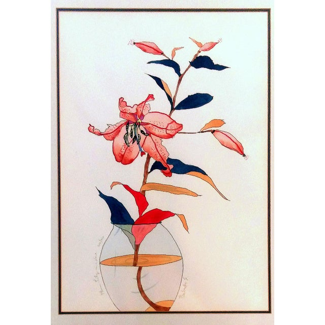 """Plum Lily in a Vase"" by Babette Eddleston - Image 2 of 8"