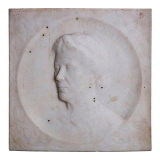 "Carved Italian Marble Portrait Plaque ""Cristina Maria Bernardi..."" circa 1900 For Sale"