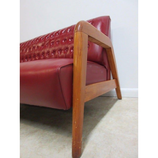 Vintage Heywood Wakefield Tufted Mid Century Sofa Settee For Sale - Image 5 of 11