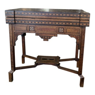 19th Century Syrian Hand Carved Game Table For Sale