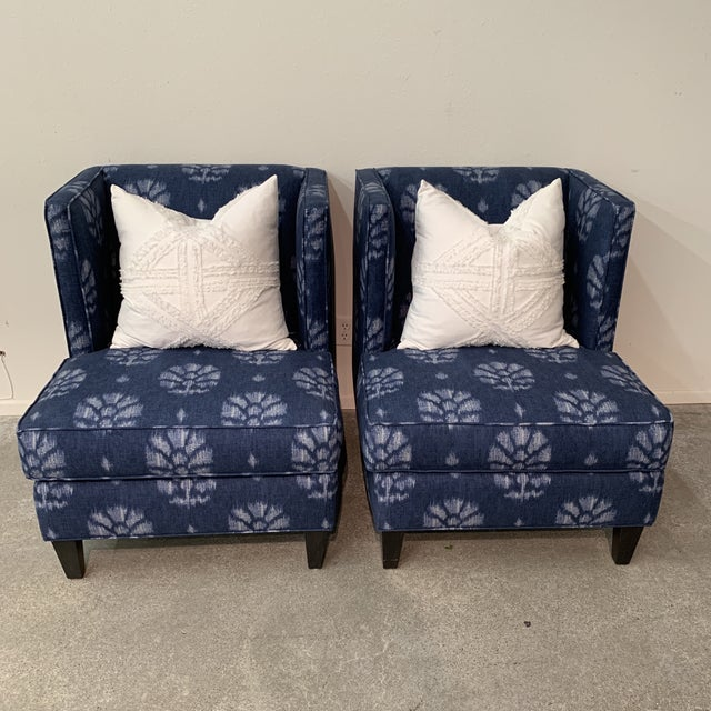 Contemporary Blue and White Contemporary Wing Chairs For Sale - Image 3 of 8
