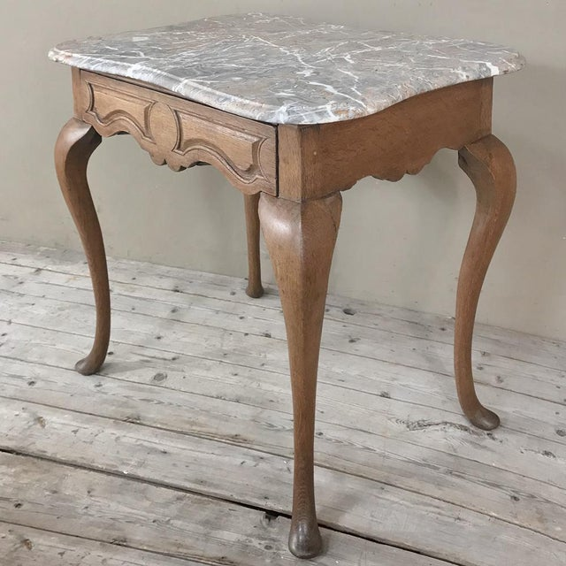 Wood 19th Century French Louis Philippe Walnut Marble Top Writing Table For Sale - Image 7 of 12