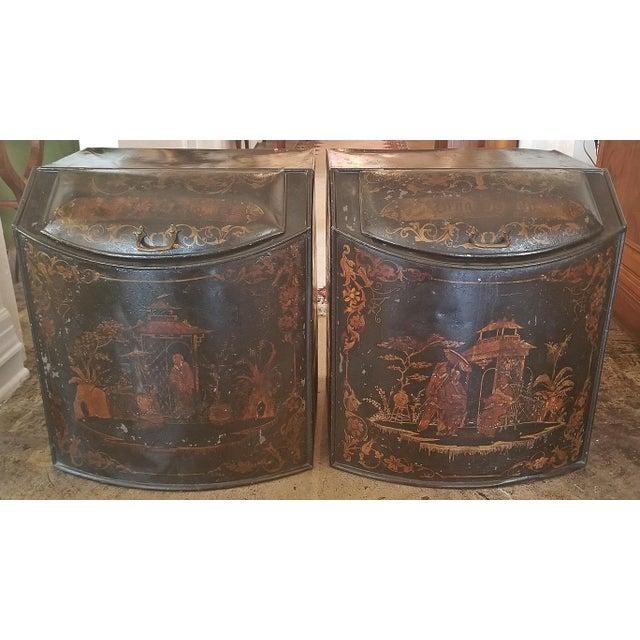 Pair of 19c American Henry Troemner Philadephia Pa Chinoiserie Tea Bins For Sale - Image 11 of 13