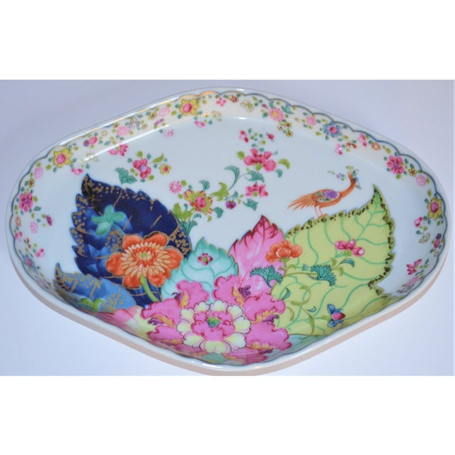 This is a Mottahedeh oval shaped tray in the fabulous tobacco leaf pattern. We love the mix n'match new take on service-...