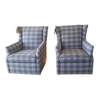 Kravet Upholstered Swivel Gliders - A Pair For Sale