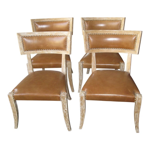 Klismos Style Chairs With Leather Seats - Set of 4 - Image 1 of 9