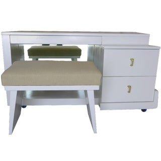 Newly Painted White Mid-Century Vanity For Sale