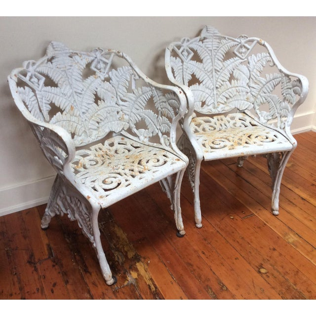 White Victorian Iron Fern Garden Chairs - A Pair For Sale - Image 8 of 9