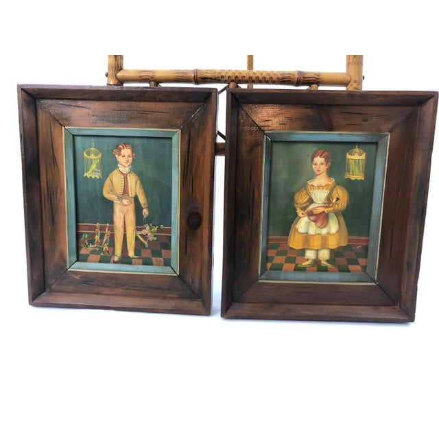 Folk Art Portraits by Jean Halter in Original Frames - a Pair For Sale - Image 12 of 12