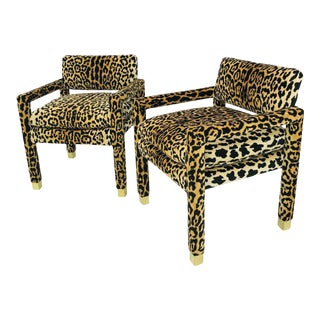 Leopard Parsons Chairs with Brass Sabots, Custom - a Pair For Sale