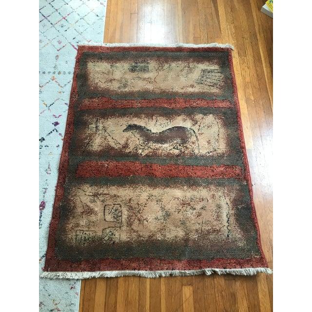 Textile 1980s Lascaux Rug by Karastan Paleolithic Cave- 3′11″ × 5′4″ For Sale - Image 7 of 7