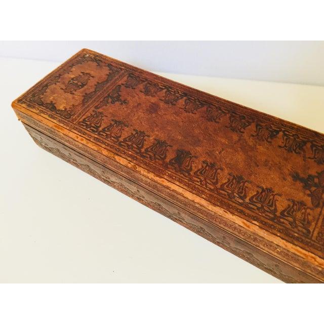 """Leather French Antique Glove Box by """"A La Marquise De Sevigne Paris"""" For Sale - Image 7 of 12"""