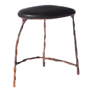 Stool in Oak and Copper by Valentin Loellmann For Sale