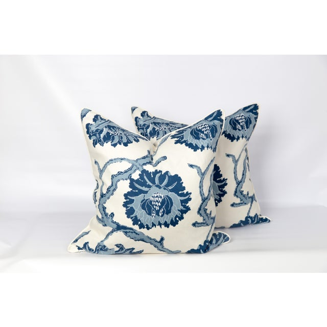 Blue and Ivory Peony Blossom Pillows - a Pair For Sale - Image 4 of 6