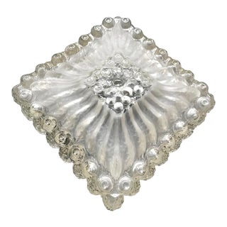 Dutch 1960s Clear Ice Rock Glass Flush Mount For Sale