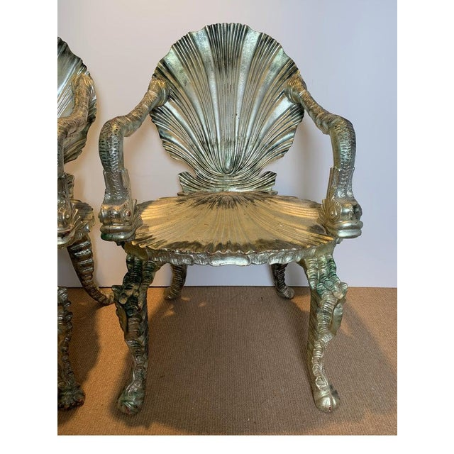 Early 20th Century Antique Silver Leaf Grotto Chairs- A Pair For Sale In Philadelphia - Image 6 of 13